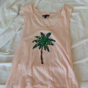 Express Size XS Pink Tank with Palm Tree